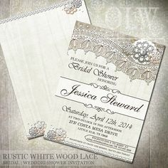 Rustic White Wood LaceBridal Shower Invitations  by OddLotEmporium
