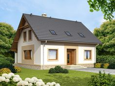 DOM.PL™ - Projekt domu ARN Tamarillo CE - DOM RS1-69 - gotowy projekt domu Model House Plan, House Plans, Simple House, House Rooms, Home Fashion, Home And Living, Exterior Design, Gazebo, Indoor Outdoor