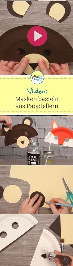 Lustige Masken aus Papptellern basteln: Bär und Fuchs sehen super süß aus, gehen schnell und deine Kinder werden sie LIEBEN!