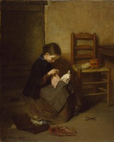 """The Little Dressmaker"" by Pierre-Édouard Frère (1858) at the Walters Art Museum, Baltimore"