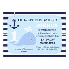 Boys Nautical Whale 1st Birthday Invitation 11 Cm X 16 Cm Invitation Card