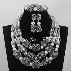 Perle di cristallo d'argento Bold Normativa collana Set di lusso d'argento monili accessori nigeriano Wedding Set Free shipping CR00706