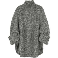 Michael Kors Wool-blend oversized sweater (£570) ❤ liked on Polyvore featuring tops, sweaters, jumpers, shirts, knitwear, 3/4 sleeve sweaters, grey shirt, oversized turtleneck sweater, gray shirt and chunky knit sweater