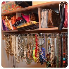 Mimi G's closet organization idea.  necklace organization.  use a tension rod in the closet and see all your necklaces.