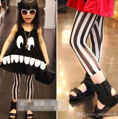 Cheap Kids Clothes - Cute Tulle Stripe Leggings Children Clothing Wide Striped Gauze Online with $5.33/Piece   DHgate