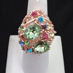 SALE 💍MultiColored stone cocktailRing💍 💍New Arrival! MultiColored rhinestone Cocktail 💍Ring (NewWithTAGS) seller ships Daily/ fully adjustable No trades Brand : boutique  Game of thrones/ gatsby / bling / sparkle  Bundle & save Jewelry