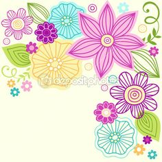 Cute colorful flower doodles vector illustration — Stock Illustration #8627519