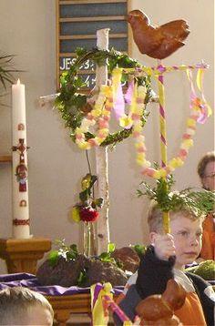 Palmpasen stok, ooit een keer gemaakt op de kleuterschool.
