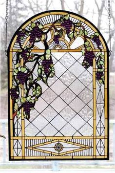 Tuscan Vineyard Stained glass window hanging.  Gorgeous.
