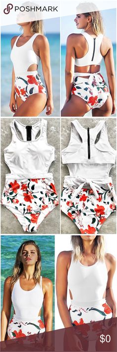 Floral Print Cut Out Swim Suit Brand New  Fabric: 80% dacron,20% spandex   Features: Tank Top Design with Zipper Back Tie at Waist Swim