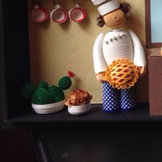 #pancake#chef #cactus#flowerpot #white#checks#yellow#blue#curly#quilled #quilling #quillingart#handmade#art