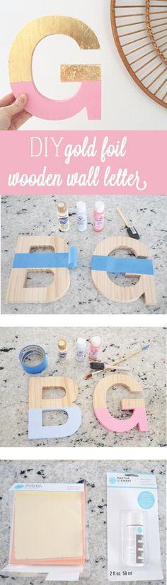 Wooden Color-blocked Gold Foil Letters
