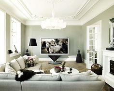 Love the 85 INCH 3D HD TV as the centerpiece of this simple, modern room decor.
