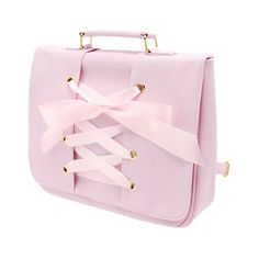 WEGO / WEGO/レースアップリボンリュック (£27) ❤ liked on Polyvore featuring bags, handbags, pink bag, pink handbags and pink purse