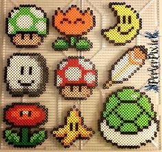 Mario Power Up Items perler beads by PerlerPixie