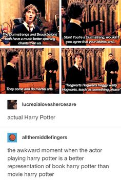"""allthemiddlefingers: """" lucrezialoveshercesare: """" actual Harry Potter """" the awkward moment when the actor playing harry potter is a better representation of book harry potter than movie harry potter """" Harry Potter Comics, Harry Potter Puns, Harry Potter Marauders, Harry Potter Cast, Harry Potter Universal, Harry Potter Characters, Harry Potter World, Must Be A Weasley, Looks Cool"""