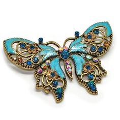 Antique Gold Tone Rhinestone Crystal Something Blue Butterfly Brooch Pin - Ideal for Wedding, Prom, Party Katie's Style http://www.amazon.com/dp/B00DAMT3YE/ref=cm_sw_r_pi_dp_8us0tb1SQAQM1AD5