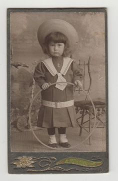 244-Antique-Photo-CDV-Portrait-Cute-Girl-with-Big-Hat-and-Hoop-Toy-Circa-1900