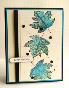 CC442, Blue Leaves... by Luv Flowers - Cards and Paper Crafts at Splitcoaststampers