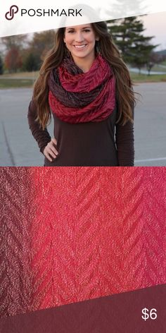 Ombré Infinity Scarf ($3 with bundle!) Purple/Maroon, Red, Dark Pink Ombré Scarf.                      -Gently used/ like new                                                        -77% acrylic, 17% polyester, 6% metallic Accessories Scarves & Wraps