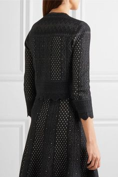 Alexander McQueen - Cropped Pointelle-knit Cardigan - Black -