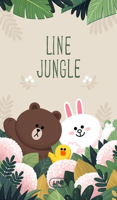 Your LINE gets green in this tree-mendous new theme! Turn your screens into a lush rainforest and join your favorite LINE friends as they frolic among the leaves. Lines Wallpaper, Graphic Wallpaper, Bear Wallpaper, Emoji Wallpaper, Line Cony, Cute Couple Cartoon, Kakao Friends, Line Friends, Line Illustration