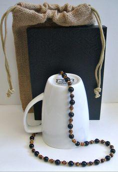 Men's Tigers Eye Onyx Beaded Necklace – Earth Ocean Fire Jewelry