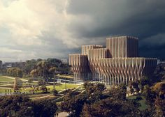 Zaha Hadid designs wooden building for Cambodian genocide researchers, with a nod to the shapes of Ankor Wat and the open exoskeleton it seems to look back, and be hopeful about the future. Love it.