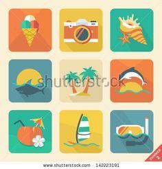 Summer icon set 2. Flat design trend. Retro color. Vector illustration. by Azaze11o, via Shutterstock