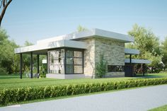 This modern design floor plan is 1941 sq ft and has 4 bedrooms and has bathrooms. Modern House Plans, Modern House Design, House Floor Plans, Steel Framing, Flat Roof House, Modern Style Homes, House Plans One Story, Weekend House, Villa