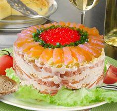 Царский салат с семгой - правильные рецепты - Как вкусно приготовить