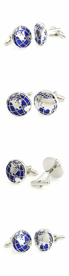Live in both sides of the world at the same time : ZHENHUI Silver Blue World Map Shirts Cufflinks. Excellent quality and a deep blue tone to compliment the silver finish.  #ZHENHUI #Cufflinks  #KhaValeri  http://www.pinterest.com/KhaValeri/    kha_amz_ZHEmaps2707_v14