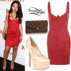Cierra Ramirez attended the Masterminds Premiere held at The TCL Chinese Theatre in Hollywood wearing a House of CB Santa Suedette Bustier Dress ($165.00), a Louis Vuitton Sarah Wallet ($700.00) and Steve Madden Deja Vu Platform Pumps (Sold Out). You can find similar pumps at 6pm ($24.99).