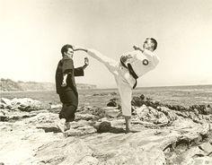 Jhoon Rhee practicing with Bruce Lee.  ALways loved this shot.