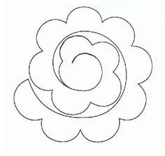 szablon - różyczka z filcu