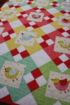 I like this fun cute little birds quilt from the Craftsy website.  I like the setting