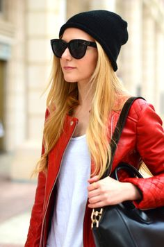 beanie and leather jacket