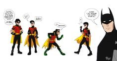 L to R  Jason Todd  Tim Drake  Damian Wayne  Dick Grayson  Bruce Wayne