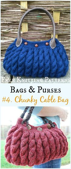 Chunky Cable Bag  Free Knitting Pattern - #Bags & Purses Free #Knitting Patterns