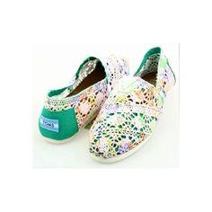 Toms Women's Classics Crochet Colored Green Shoes