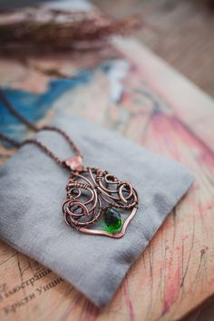Green quartz copper necklace  wire jewelry  by UrsulaJewelry
