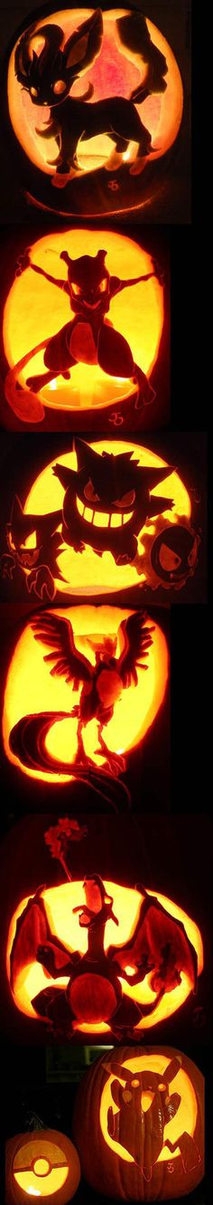 Pokemon carved pumpkins // funny pictures - funny photos - funny images - funny pics - funny quotes - #lol #humor #funnypictures