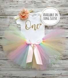 This Pastel Rainbow Birthday Outfit that features a whimsical top and matching tutu is the perfect photo prop for your childs first birthday. This will also make a great gift for a cute toddler to celebrate one of their big milestones. Rainbow First Birthday, First Birthday Outfits, Birthday Tutu, 1st Birthday Girls, Birthday Dresses, Unicorn Birthday, First Birthday Parties, Birthday Shirts, First Birthdays