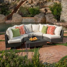 Noble House Newton Grey Wicker Outdoor Sectional Set with White Cushions 11774 - The Home Depot Wicker Table, Wicker Sofa, Wicker Furniture, Wicker Dresser, Wicker Man, Wicker Trunk, Wicker Headboard, Wicker Mirror, Wicker Planter