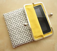 Gray iPad Case or Sleeve with Kisslock Frame  Gray by kailochic, $49.99