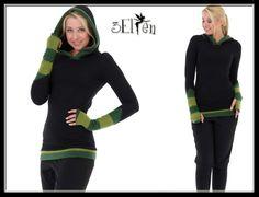 Hoodies - 3Elfen Hoodie Fleece Stulpen schwarz grün Streifen - ein Designerstück von 3Elfen bei DaWanda