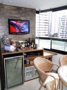 45 Inspiring Mini Bar Design Ideas On Your Apartment Balcony. A balcony is where the heart is and probably this is the reason why we. House Design, House, Home, New Homes, Bars For Home, Apartment Decor, Mini Bar, Bar Design, Balcony Design