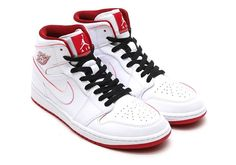 This Air Jordan 1 Mid features a white leather upper with red detailing that makes it look similar to the Lance Mountain release.