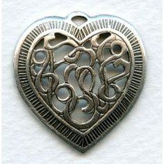 Detailed Heart Pendants Openwork Oxidized Silver 28mm vintagejewelrysupplies