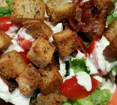 Deconstructed Wedge salad with homemade blue cheese dressing and croutons. www.thesouthinmymouth.com Wedge Salad, Blue Cheese Dressing, Bacon Bits, Deconstruction, Lettuce, Sour Cream, Tomatoes, 1960s, Salads